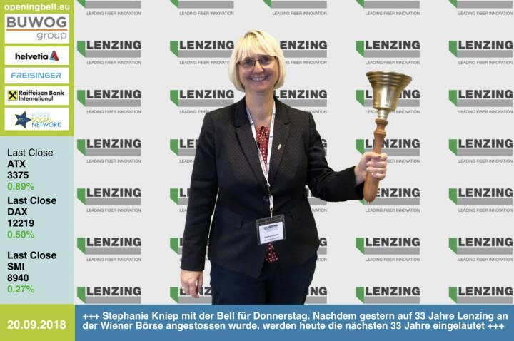20.9.: Stephanie Kniep mit der Opening Bell für Donnerstag. Nachdem gestern auf 33 Jahre Lenzing an der Wiener Börse angestossen wurde, werden heute von der IR-Chefin die nächsten 33 Jahre eingeläutet http://www.lenzing.com https://www.facebook.com/groups/GeldanlageNetwork