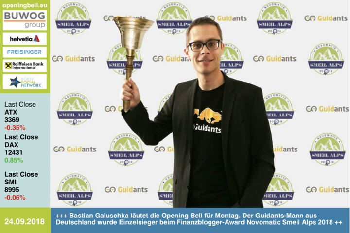 24.9.: Bastian Galuschka läutet die Opening Bell für Montag. Der Guidants-Mann aus Deutschland wurde Einzelsieger beim Finanzblogger-Award Novomatic Smeil Alps 2018 http://go.guidants.com/#c/bastian_galuschka  http://www.smeil-award.com https://www.facebook.com/groups/GeldanlageNetwork