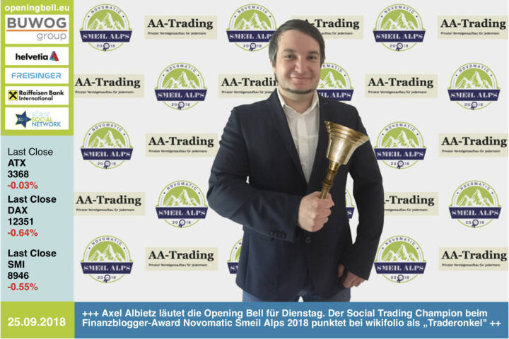 """25.9.: Axel Albietz läutet die Opening Bell für Dienstag. Der Social Trading Champion beim Finanzblogger-Award Novomatic Smeil Alps 2018 punktet bei wikifolio als """"Traderonkel"""", betreibt unter diesem Namen nicht nur acht erfolgreiche wikifolios, sondern informiert seine Leser im Blog www.aa-trading.blogspot.com http://www.wikifolio.com http://www.smeil-award.com https://www.facebook.com/groups/GeldanlageNetwork"""
