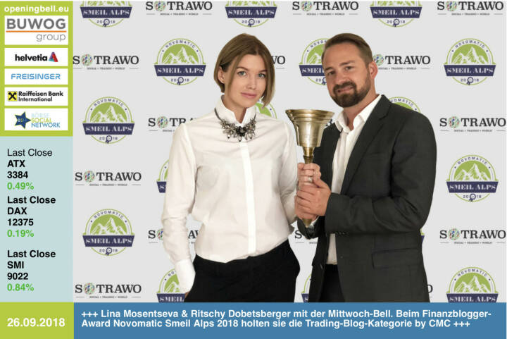 26.9.:  Lina Mosentseva und Ritschy Dobetsberger läuten die Opening Bell für Mittwoch. Beim Finanzblogger-Award Novomatic Smeil Alps 2018 holten sie mit Sotrawo die Trading-Blog-Kategorie hosted by CMC Markets https://www.sotrawo.com https://www.cmcmarkets.com/de http://www.smeil-award.com https://www.facebook.com/groups/GeldanlageNetwork