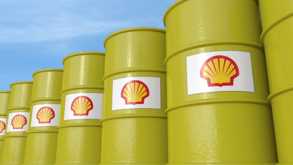 Royal Dutch Shell, Ölfässer - https://de.depositphotos.com/163869010/stock-photo-row-of-metal-barrels-with.html, &copy; <a href=