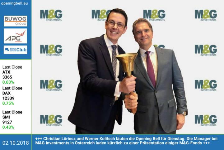 2.10.: Christian Lörincz und Werner Kolitsch läuten die Opening Bell für Dienstag. Die Manager bei M&G Investments in Österreich luden kürzlich zu einer Präsentation einiger M&G-Fonds. http://www.mandg.at https://www.facebook.com/groups/GeldanlageNetwork