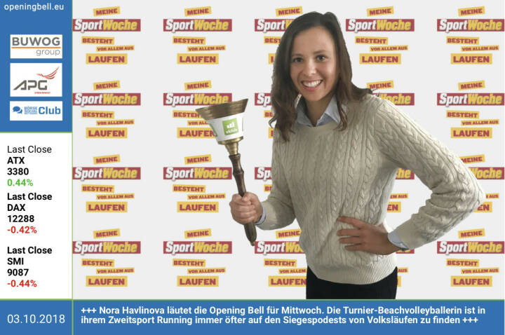 3.10.: Nora Havlinova läutet die Opening Bell für Mittwoch. Die Turnier-Beachvolleyballerin ist in ihrem Zweitsport Running immer öfter auf den Siegespodests von Volksläufen zu finden https://www.facebook.com/groups/Sportsblogged http://www.runplugged.com