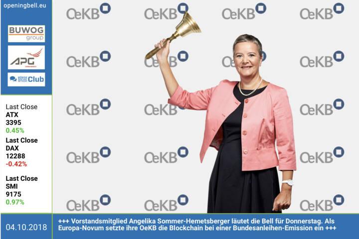 4.10.: Angelika Sommer-Hemetsberger aus dem Vorstandsteam der OeKB läutet die Opening Bell für Donnerstag. Diese Woche startete die OeKB mit dem Einsatz der Blockchain-Technologie im Rahmen der Begebung einer Bundesanleihe und übernimmt so europaweit eine Vorreiterrolle. Die Blochchain-Lösung wird nun für die Daten-Notarisierung bei der Auktion von Bundesanleihen eingesetzt. Die OeKB, als Anbieterin zahlreicher Dienstleistungen für die Exportwirtschaft und den Kapitalmarkt, beschäftigt sich seit einiger Zeit intensiv mit der Blockchain-Thematik und hat bereits in der Vergangenheit mehrere Prototypen getestet. Der Start des Echtbetriebs war der logische nächste Schritt. http://www.oekb.at https://www.facebook.com/groups/GeldanlageNetwork