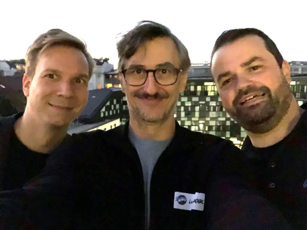 Jakob Steinschaden (Trending Topics), Josef Chladek (BSN), Stefan Greunz (Growth Ninjas) - am Ein-Jahresfest der großartigen Growth Ninjas (06.10.2018)