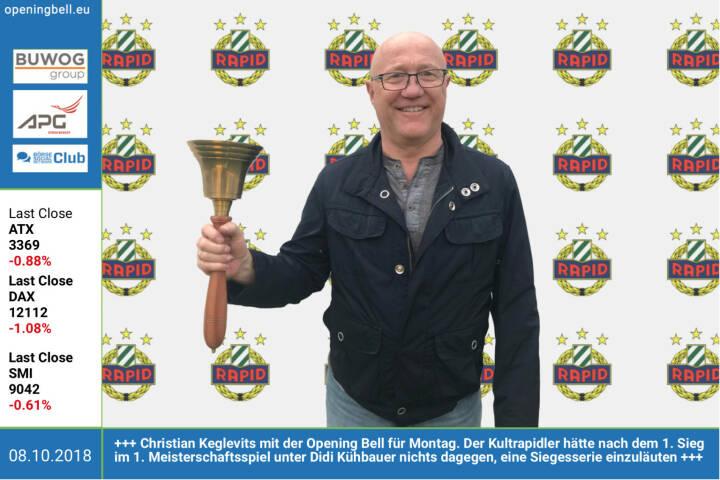 8.10.:  Christian Keglevits mit der Opening Bell für Montag. Der Kultrapidler hätte nach dem 1. Sieg im 1. Meisterschaftsspiel unter Didi Kühbauer nichts dagegen, eine Siegesserie einzuläuten https://www.skrapid.at/ https://www.facebook.com/groups/Sportsblogged http://www.runplugged.com