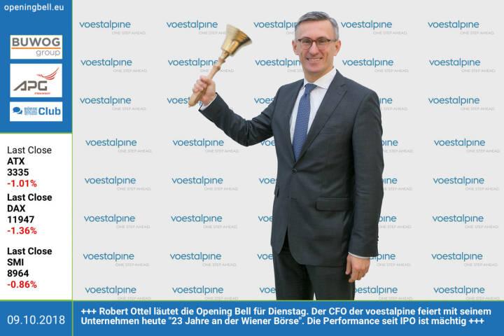 9.10.: Robert Ottel läutet die Opening Bell für Dienstag. Der CFO der voestalpine feiert mit seinem Unternehmen heute 23 Jahre an der Wiener Börse. Die Performance seit IPO ist mächtig http://www.boerse-social.com/voestalpine https://www.facebook.com/groups/GeldanlageNetwork