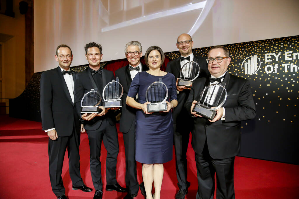 Die Prüfungs- und Beratungsorganisation EY vergab zum 13. Mal den EY Entrepreneur Of The Year AwardTM in Österreich: (v.l.n.r.): Erich Lehner, Managing Partner Markets EY Österreich; Philipp Maderthaner, Campaigning Bureau; Walter Emberger, Teach For Austria; Katharina List-Nagl, F/LIST; Johannes Homa, Lithoz; Werner Trenker, MED TRUST; Copyright: Point of View, © Aussendung (13.10.2018)