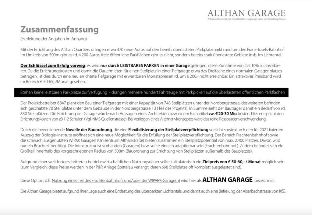 Althangrund: Althan Garage Zusammenfassung (14.10.2018)