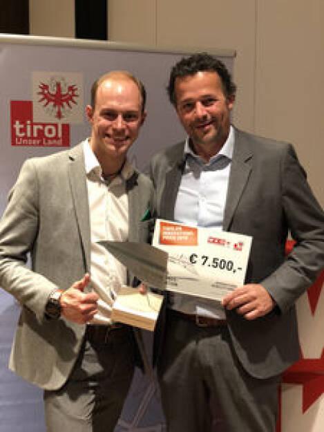 Greenstorm-Händlerkonzept wurde mit Tiroler Innovationspreis vergoldet ; Greenstorm-Geschäftsführer Philipp Zimmermann & Christian Keck (©Die Fotografen), © Aussendung (15.10.2018)