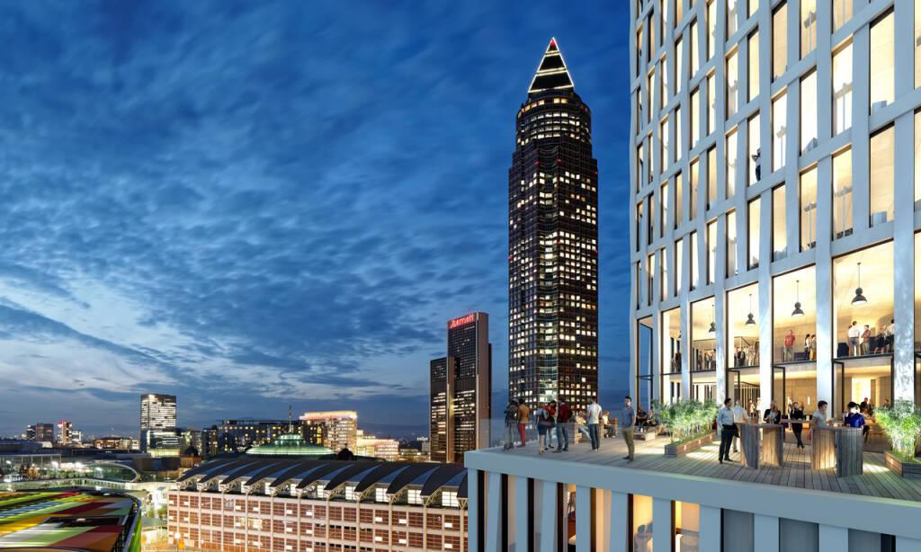 CA Immo, ONE Frankfurt, Europaviertel, Blick auf die Dachterrasse, Credit: CA Immo (17.10.2018)