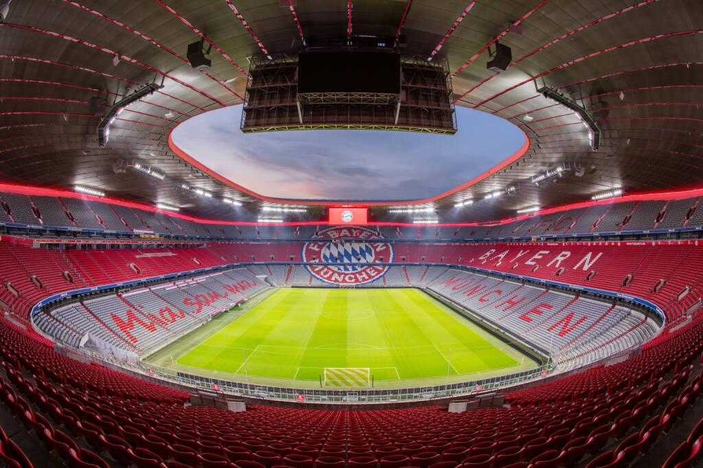 Zumtobel Group startet Lichtpartnerschaft mit dem FC Bayern München: Visualisierung der geplanten Effektbeleuchtung im inneren Dachbereich der Allianz Arena in München, Credit: Zumtobel, © Aussendung (18.10.2018)
