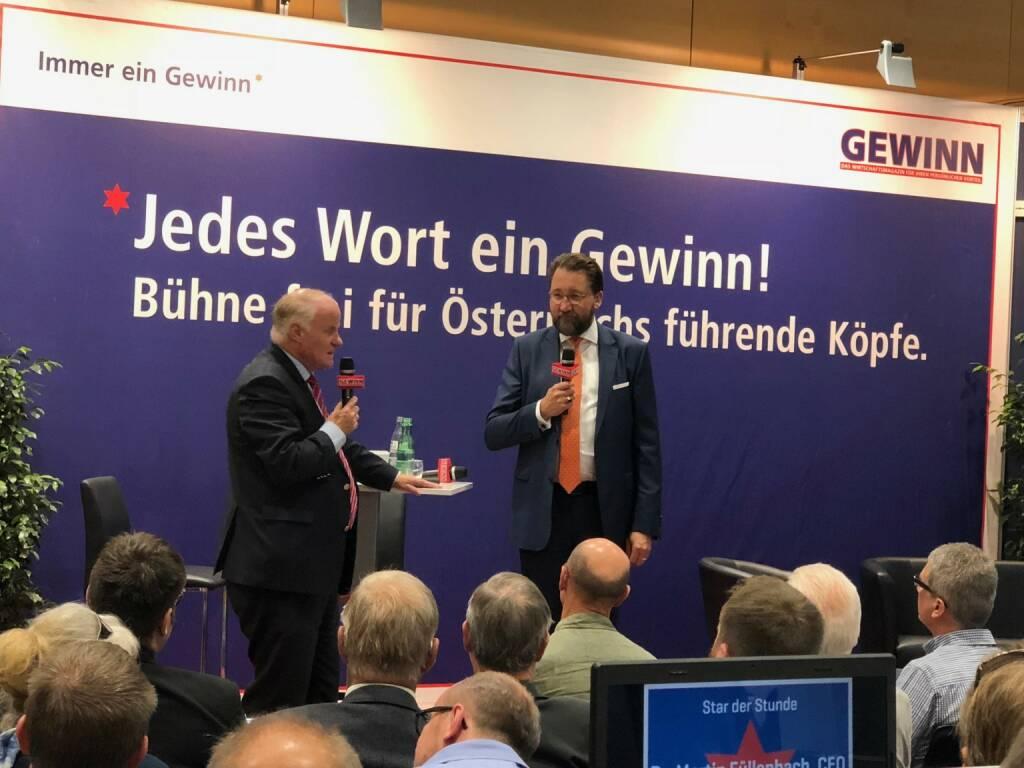 Semperit-CEO Martin Füllenbach bei Georg Wailand (Gewinn) als Star der Stunde bei der Gewinn Messe (18.10.2018)