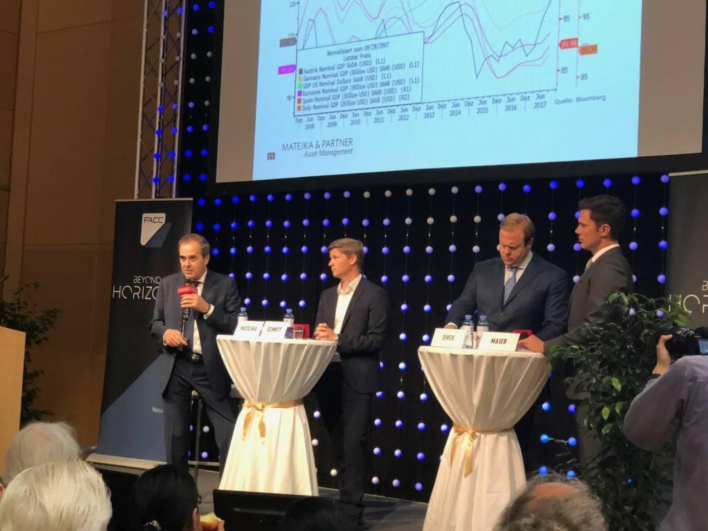Fondsmanager Wolfgang Matejka, Günther Schmitt (Raiffeisen KAG), Klaus Umek (Petrus Advisers) (18.10.2018)
