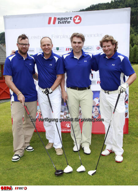 Sporthilfe Golf Trophy, GCC Schladming. David Fruehwirth, Martin Ritzer (GEPA pictures), Hans Fuchs und Willi Fechter, Foto: GEPA pictures/ Harald Steiner (17.06.2013)