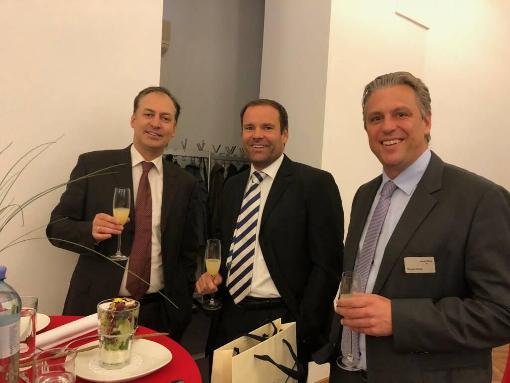 Präsentation des neuen Österreich-Fonds der WSS Vermögensmanagement GmbH in der Säulenhalle der Wiener Börse; Manfred Sibrawa (Amundi), Josef Kerekes (Erste Group), Thomas Rainer (Wiener Börse) (22.10.2018)