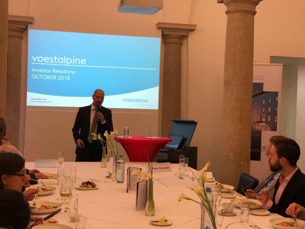 Präsentation des Österreich-Fonds der WSS Vermögensmanagement GmbH, voestalpine-IR-Chef Peter Fleischer stellte die Company vor (22.10.2018)