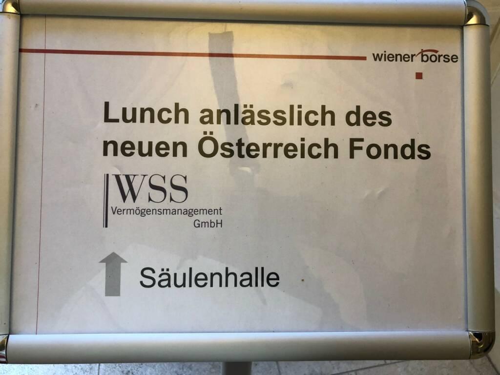 Lunch, Wiener Börse, WSS Vermögensmanagement Österreich Fonds (22.10.2018)