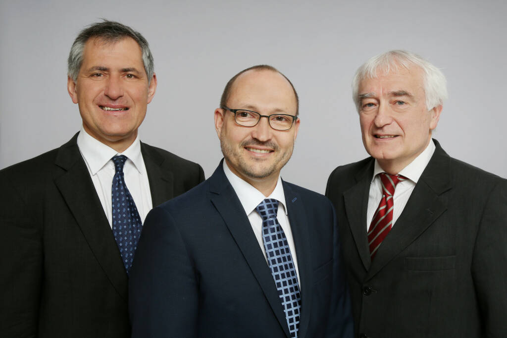 Geschäftsführer der WSS Vermögensmanagement GmbH: Herbert Scherrer, Mag. Markus Weissörtel (Fondsmanager WSS Europa, WSS Wertpapier- und Optionsstrategie), Karl Stöbich (Fondsmanager Ascensio II – Rentenfonds) (von links); Credit: WSS, © Aussender (24.10.2018)