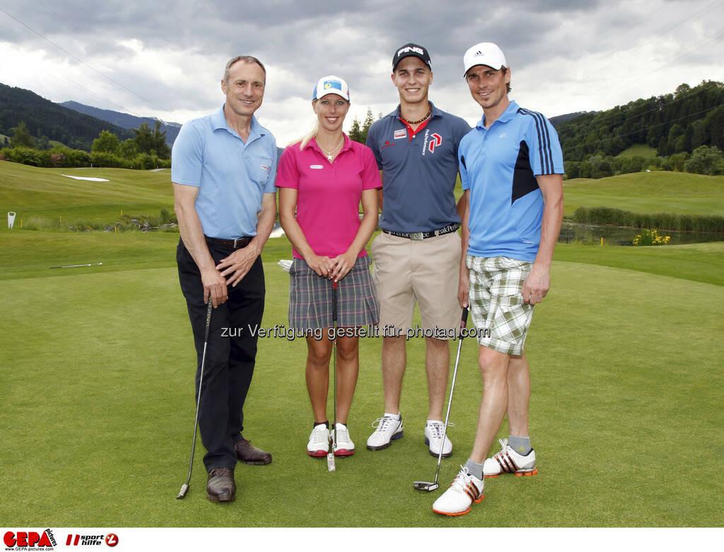 Sporthilfe Golf Trophy, GCC Schladming. Geschaeftsfuehrer Anton Schutti (Sporthilfe), Marion Kreiner, Matthias Schwab und Felix Gottwald (AUT), Foto: GEPA pictures/ Harald Steiner (17.06.2013)