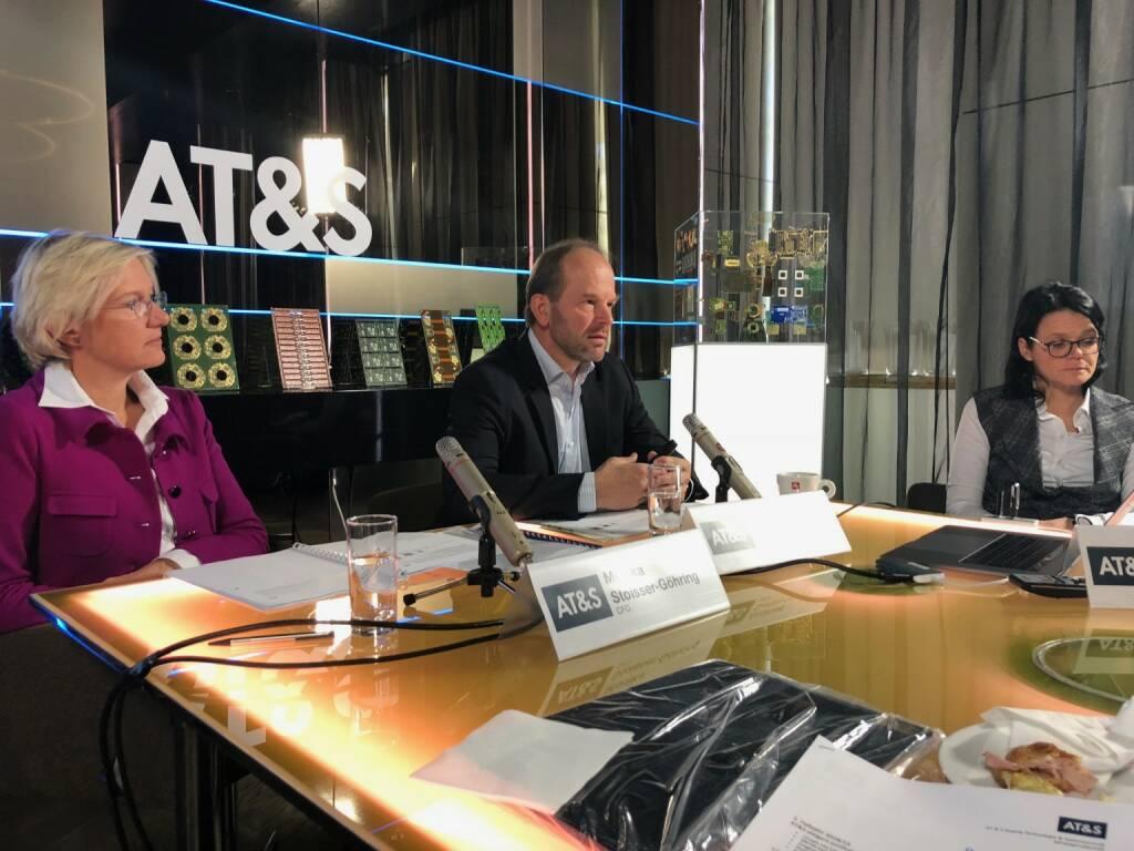AT&S-Pressekonferenz zu den Halbjahreszahlen 2018/2019: CFO Monika Stoisser-Göhring, CEO Andreas Gerstenmayer, IR-Chefin Gerda Königstorfer (31.10.2018)