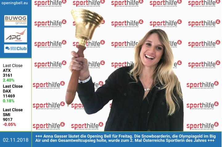 2.11.: Anna Gasser läutet die Opening Bell für Freitag. Die Snowboarderin, die Olympiagold im Big Air und den Gesamtweltcupsieg holte, wurde zum 2. Mal Österreichs Sportlerin des Jahres https://www.anna-gasser.com http://www.sporthilfe.at https://www.facebook.com/groups/Sportsblogged http://www.runplugged.com