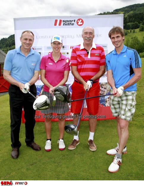 Sporthilfe Golf Trophy, GCC Schladming. Geschaeftsfuehrer Anton Schutti (Sporthilfe), Marion Kreiner (AUT), Roman Kreitner und Felix Gottwald, Foto: GEPA pictures/ Harald Steiner (17.06.2013)