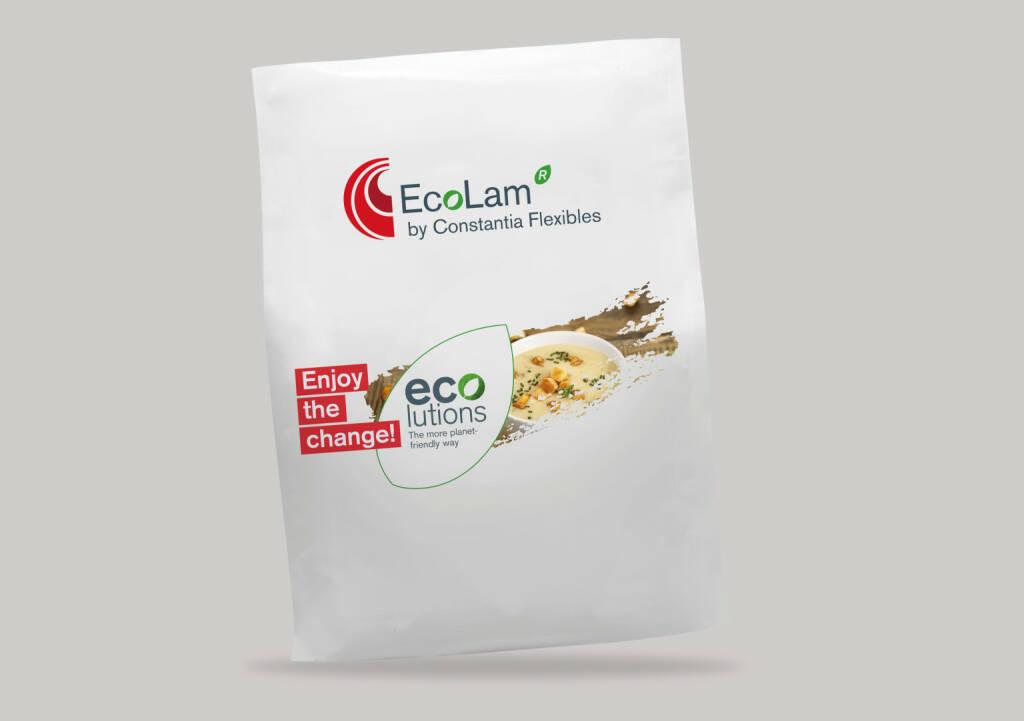 Constantia Flexibles präsentiert Verpackungslösungen für mehr Nachhaltigkeit, die Verpackungslinie EcoLam zeichnet sich durch sehr gute Barriereeigenschaften aus. Credit: Constantia Flexibles, © Aussender (06.11.2018)