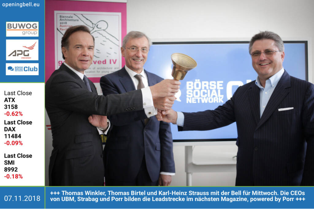 7.11.: Thomas Winkler, Thomas Birtel und Karl-Heinz Strauss läuten die Opening Bell für Mittwoch. Die CEOs von UBM, Strabag und Porr bilden die Leadstrecke im nächsten Börse Social Magazine, powered by Porr http://www.porr.at http://www.boerse-social.com/magazine https://www.facebook.com/groups/GeldanlageNetwork (07.11.2018)