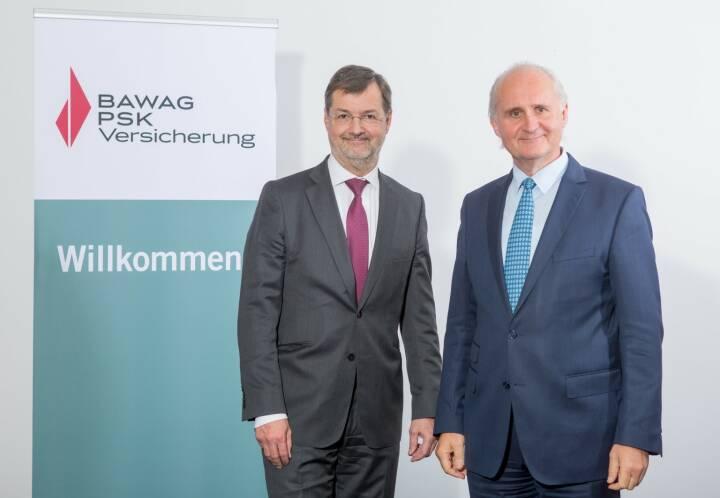 Peter Wilk (li.) übergibt per 1. Jänner 2019 den Vorsitz des Vorstandes der Bawag P.S.K. Versicherung an Generali Vorstand Martin Sturzlbaum (Foto: Martina Draper).