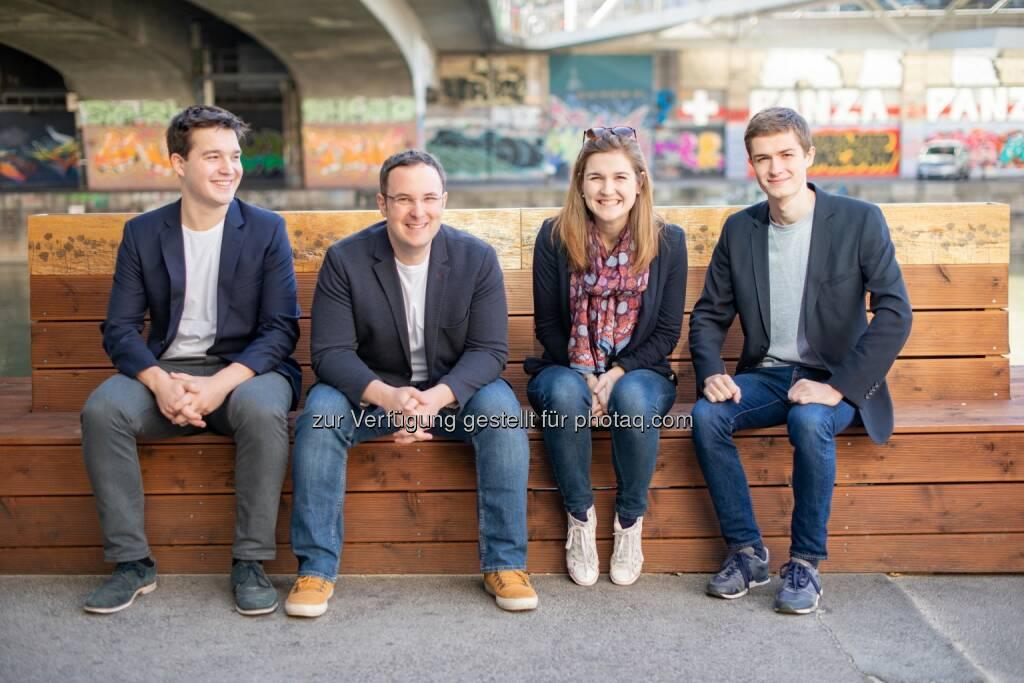 Impactory GmbH: Wiener Startup launcht neue Spenden-App; Team impactory: Philipp Keckeis, Emanuel Riccabona, Elke Pichler, Simon Vötter (vlnr), Fotocredit: Zwiauer (15.11.2018)
