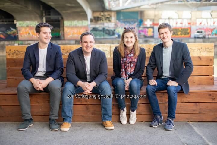 Impactory GmbH: Wiener Startup launcht neue Spenden-App; Team impactory: Philipp Keckeis, Emanuel Riccabona, Elke Pichler, Simon Vötter (vlnr), Fotocredit: Zwiauer