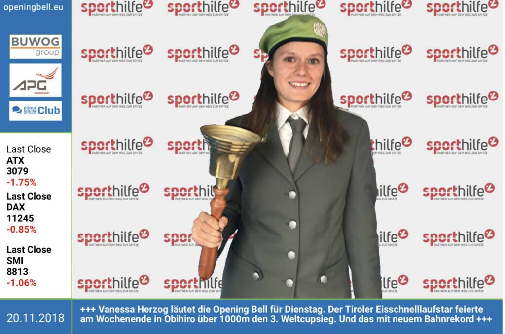 20.11.: Vanessa Herzog läutet die Opening Bell für Dienstag. Der Tiroler Eisschnelllaufstar feierte am Wochenende in Obihiro über 1000m den 3. Weltcupsieg. Und das mit neuem Bahnrekord http://www.vanessaherzog.at https://www.facebook.com/search/top/?q=sportsblogged http://www.runplugged.com (20.11.2018)