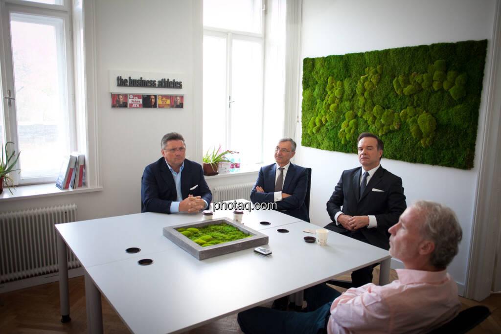 Karl-Heinz Strauss (Porr), Thomas Birtel (Strabag), Thomas Winkler (UBM), Christian Drastil (BSN), , © Michaela Mejta/photaq.com (21.11.2018)