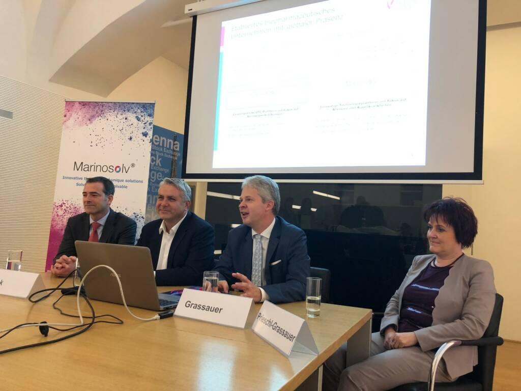 Marinomed-IPO-Pressekonferenz: Finanz-Chef Pascal Schmidt, Erste Group-Vorstand Peter Bosek, Gründer Andreas Grassauer und Eva Prieschl Grassauer (21.11.2018)