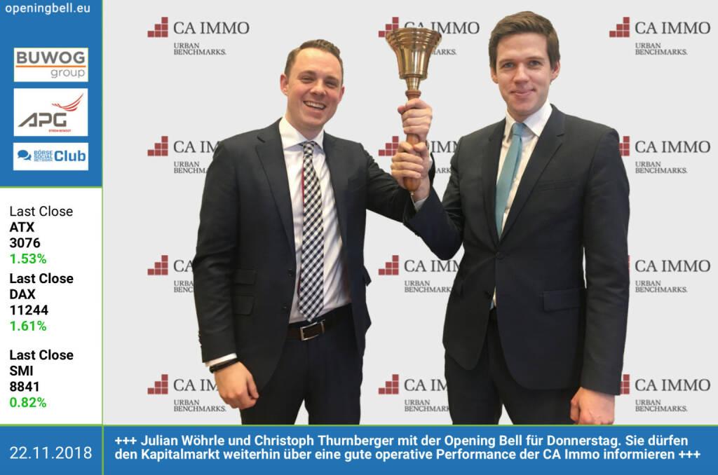22.11.: Julian Wöhrle und Christoph Thurnberger mit der Opening Bell für Donnerstag. Sie dürfen den Kapitalmarkt weiterhin über eine gute operative Performance der CA Immo informieren. http://caimmo.com https://www.facebook.com/groups/GeldanlageNetwork (22.11.2018)