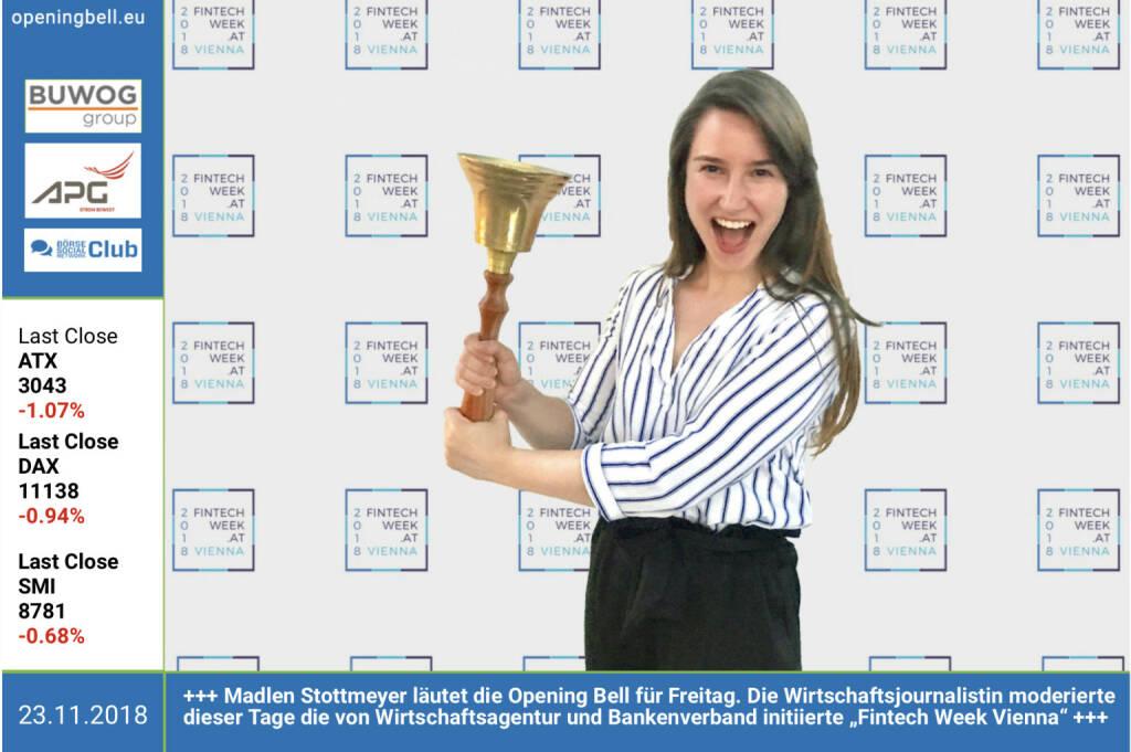 """23.11.: Madlen Stottmeyer läutet die Opening Bell für Freitag. Die Wirtschaftsjournalistin moderierte dieser Tage die von Wirtschaftsagentur und Bankenverband initiierte """"Fintech Week Vienna"""" https://www.facebook.com/groups/GeldanlageNetwork (23.11.2018)"""