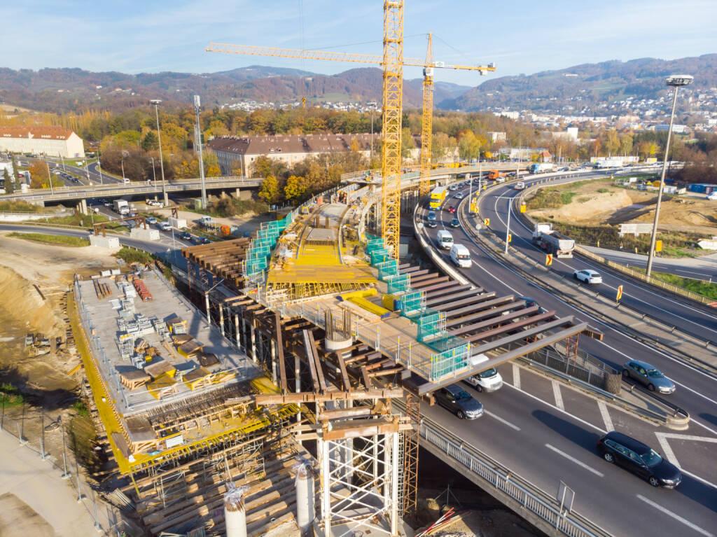 """SWIETELSKY: Baufortschritt bei Voestbrücke im Plan - Im ersten Bauabschnitt bekommt die Linzer Voestbrücke zwei zusätzliche Brücken (""""Bypässe""""). Ziel der Bypassbrücken ist weniger Stau bei der Donauquerung durch eine Entflechtung der Verkehrsströme: Lenkerinnen und Lenker, die nach Linz wollen oder von Linz kommen, werden von jenen getrennt, die Linz """"nur"""" durchfahren. Fotocredit:ASFINAG/Mike Wolf, © Aussender (27.11.2018)"""