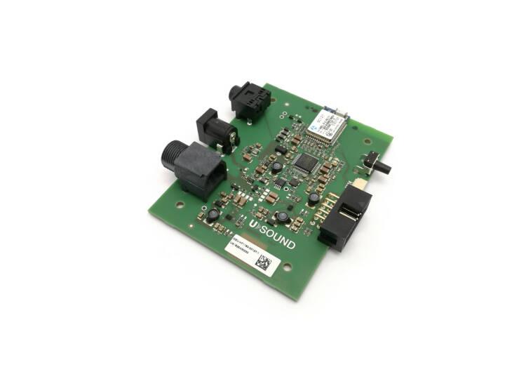 Der in Graz ansässige Mikro-Lautsprecher-Entwickler Usound hat sich 20 Dollar Wachstumskapital an Bord geholt, Foto: Ananke - ein Evaluierungsboard, das speziell für die Ganymede MEMS-Lautsprecher entwickelt wurde. Credit: Usound