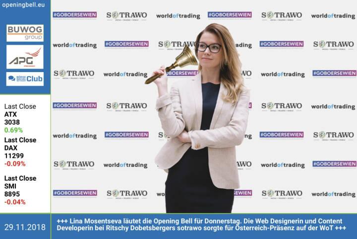 29.11.: Lina Mosentseva läutet die Opening Bell für Donnerstag. Die Web Designerin und Content Developerin bei Ritschy Dobetsbergers sotrawo sorgte für Österreich-Präsenz auf der WoT http://www.sotrawo.com https://www.wot-messe.de/home/ https://www.facebook.com/groups/GeldanlageNetwork