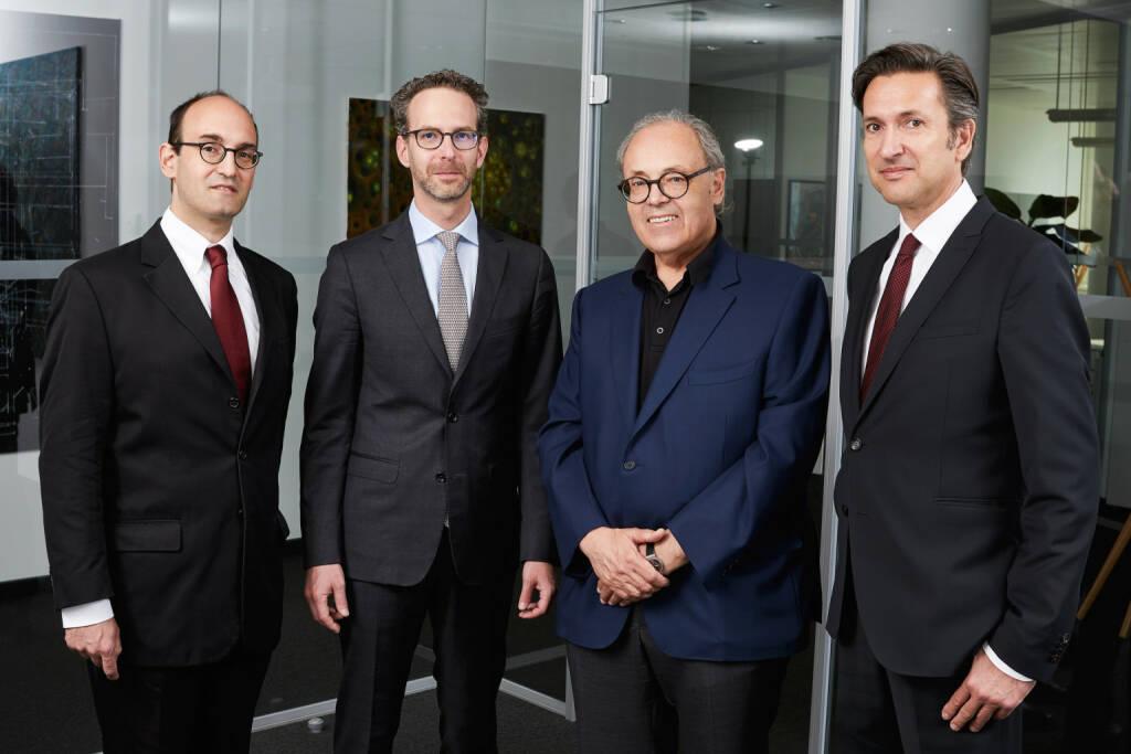 Warimpex-Management: v.li. Alexander Jurkowitsch, Daniel Folian, Franz Jurkowitsch, Florian Petrowsky; Credit: Warimpex, © Aussender (30.11.2018)