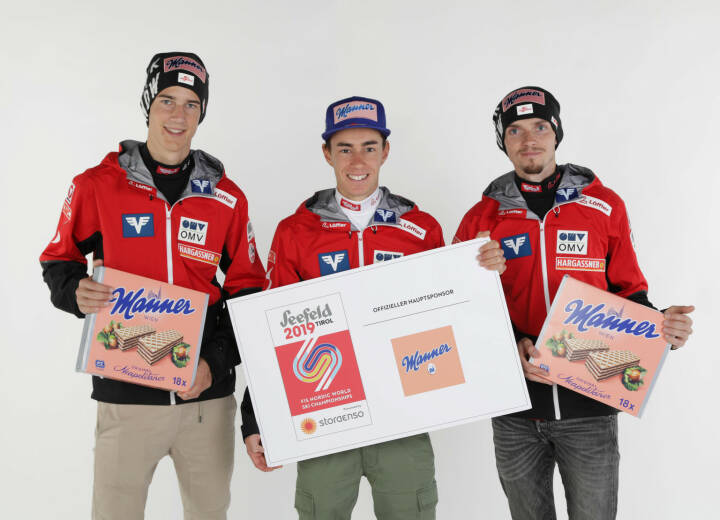 Manner, Skispringer, Mika Schwann, Stefan Kraft and Manuel Poppinger (AUT); Credit:  GEPA pictures/Manner Photo: GEPA pictures/ Harald Steiner