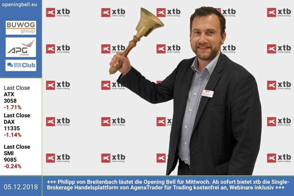 5.12.: Philipp von Breitenbach läutet die Opening Bell für Mittwoch. Ab sofort bietet xtb die Single-Brokerage Handelsplattform von AgenaTrader für Trading kostenfrei an, Webinare inklusiv. https://de.xtb.com/mercury-webinar-workshop https://www.facebook.com/groups/GeldanlageNetwork  (05.12.2018)