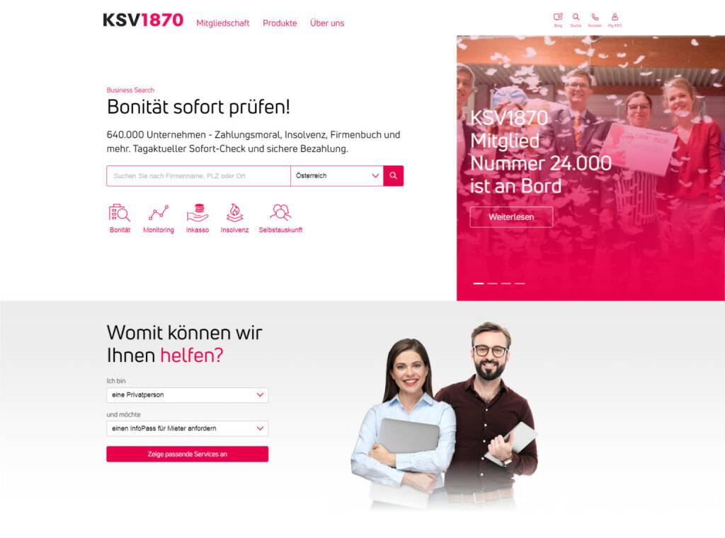 Kreditschutzverband von 1870: KSV1870 launcht kurz vor Jahreswechsel neues Portal; Credit: KSV 1870, © Aussender (06.12.2018)