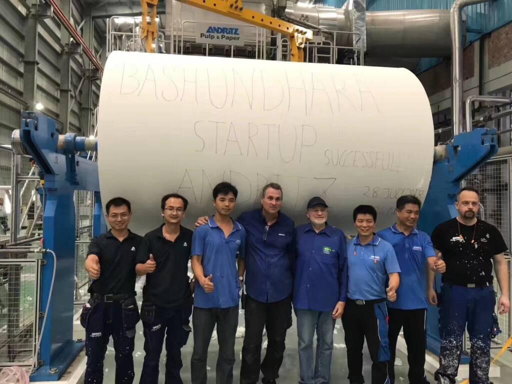 Andritz nahm die an Bashundara Paper Mills Limited, Bangladesch, Indien, gelieferte PrimeLineCompact VI Tissueproduktionslinie, inklusive Stoffaufbereitung und Automatisierungssystem, erfolgreich in Betrieb. Credit: Andritz, © Aussendung (10.12.2018)