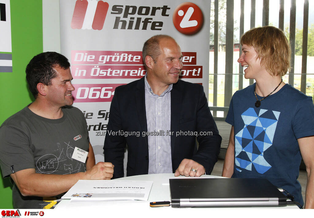 WIFI Sporthilfe Forum. Markus Moser (AUT), Marc Girardelli und Sabrina Filzmoser (AUT), Foto: GEPA pictures/ Harald Steiner (17.06.2013)