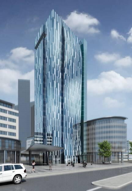 Immofinanz: Die Umbauarbeiten für den neuen Büro- und Hotel-Tower am Standort myhive am Wienerberg gehen planmäßig voran; Credit: Holzbauer und Partner Architekten (12.12.2018)