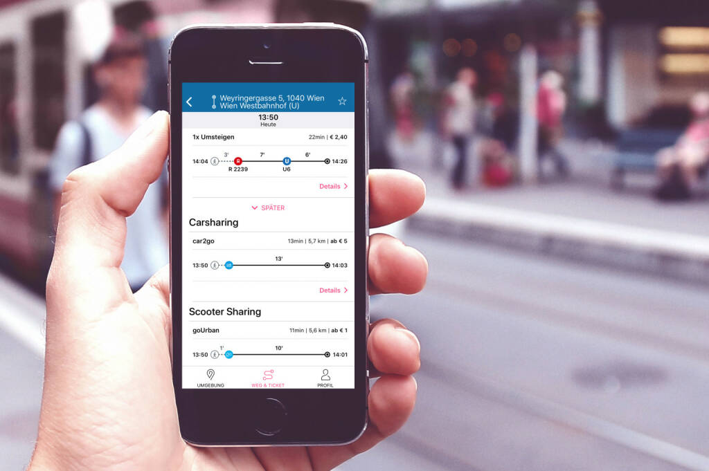 Das ÖBB Start-Up iMobility gewinnt mit der App wegfinder den Digital-Award des internationalen Eisenbahnverbands UIC in der Kategorie Personenverkehrsdienste, Fotocredit:wegfinder (13.12.2018)