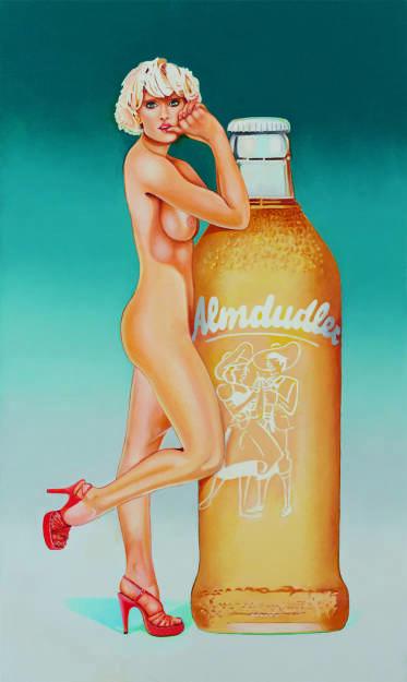 """Gemälde """"Almdudler's Fabulous Blonde"""" wird in Galerie Ernst Hilger im Rahmen von In Memory Mel Ramos gezeigt. Fotocredit: Katharina Stögmüller (17.12.2018)"""