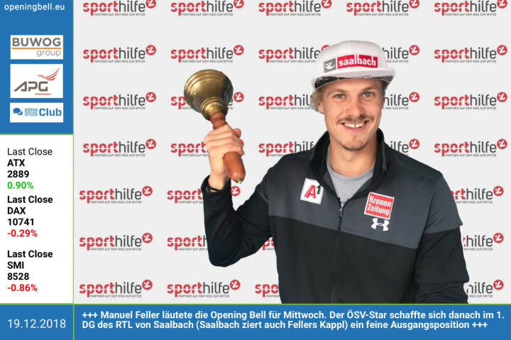 19.12.: Manuel Feller läutete die Opening Bell für Mittwoch. Der ÖSV-Star schaffte sich danach im 1. DG des RTL von Saalbach (Saalbach ziert auch Fellers Kappl) ein feine Ausgangsposition http://www.oesv.at https://www.facebook.com/search/top/?q=sportsblogged http://www.runplugged.com